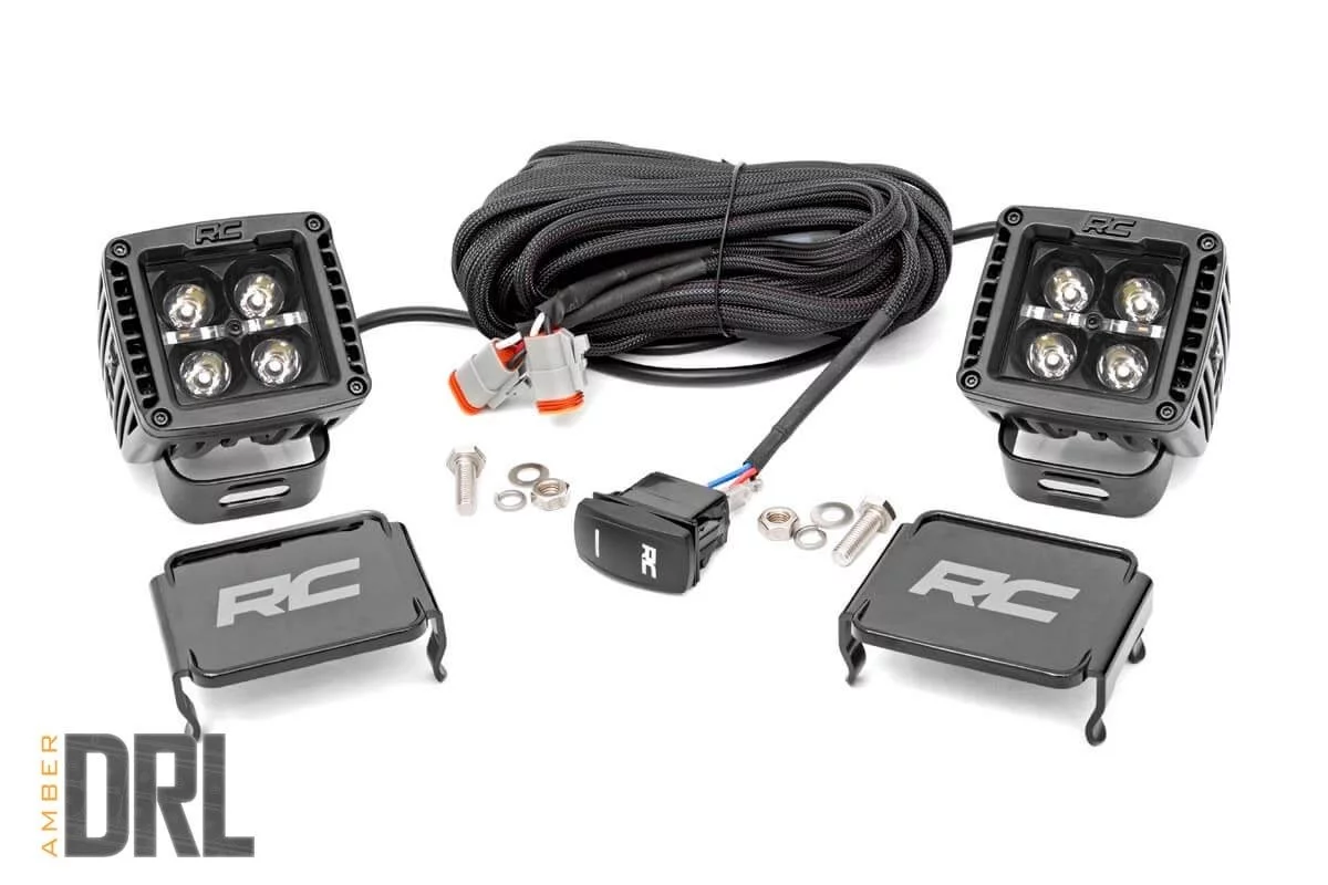 Cree Led Lights >> Rough Country 2 Inch Square Cree Led Lights Pair Black Series W Amber Drl