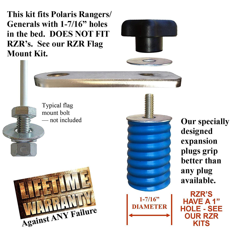 Ranger Lock and Ride UTV Flag Pole Holder Quick Release Bracket GripPRO ATV Anchors Polaris Flag Mount