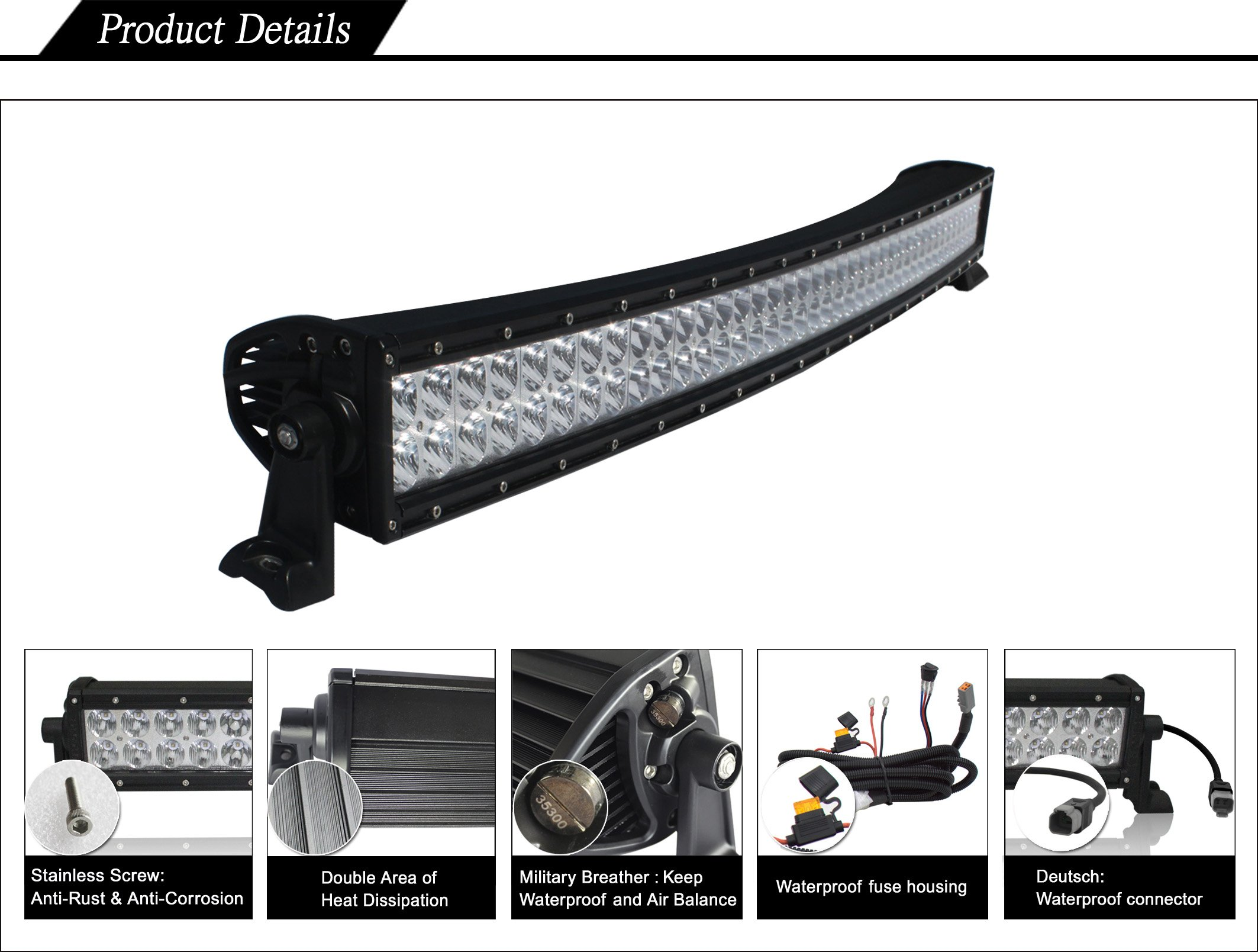 50 inch Double Row Series Curved: Double Row LED Light Bar - Combo (500w)