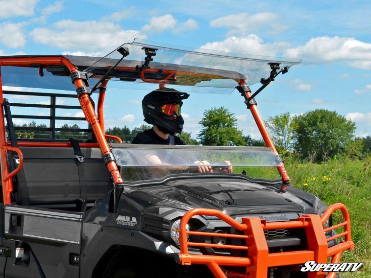 Superatv Kawasaki Mule Pro Fxt Scratch Resistant Flip Windshield